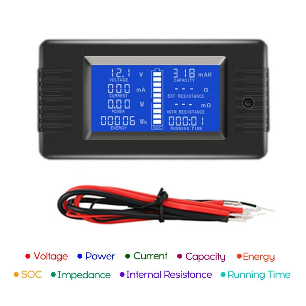 Go2Funlive Lcd Display Digital Current Voltage Solar Po-Wer Meter Multimeter Ammeter Voltmeter Batt-Ery Monitor Meter
