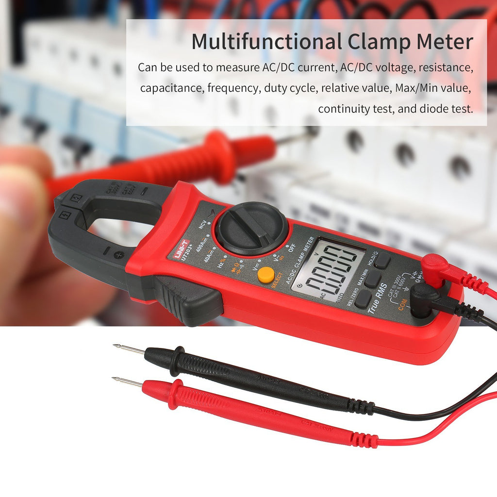 UNI-T UT203+ 4000 Counts Digital Clamp Meter True RMS Multimeter Clamp Ammeter Voltage Meter NCV Test Universal Meter Tester AC/DC Current Clamp Tester