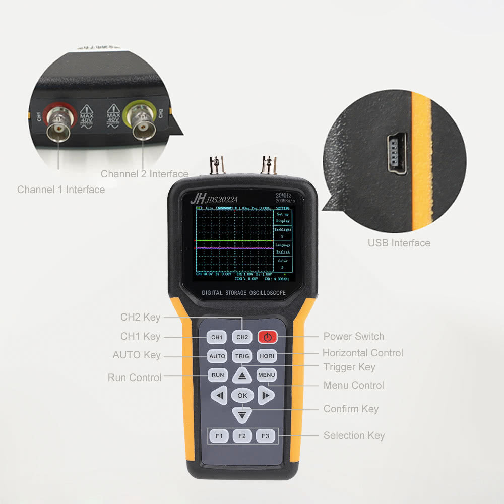 Go2Funlive Handheld Digital Tft Lcd Dual-Channel 2 Channels Oscilloscope Portable Scope Meter 20Mhz Bandwidth 200Msa/S Sample Rate