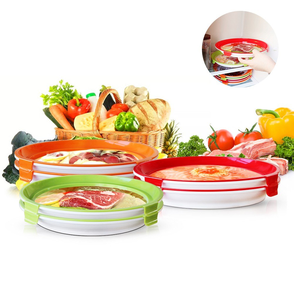 Go2FunLive Food Preservation Tray with Lid 6 Pack Good Sealing Elastic Film Buckle Design Stackable Round Food Storage Container Fresh Food Keeper for Fridge Refrigerating Cabinets