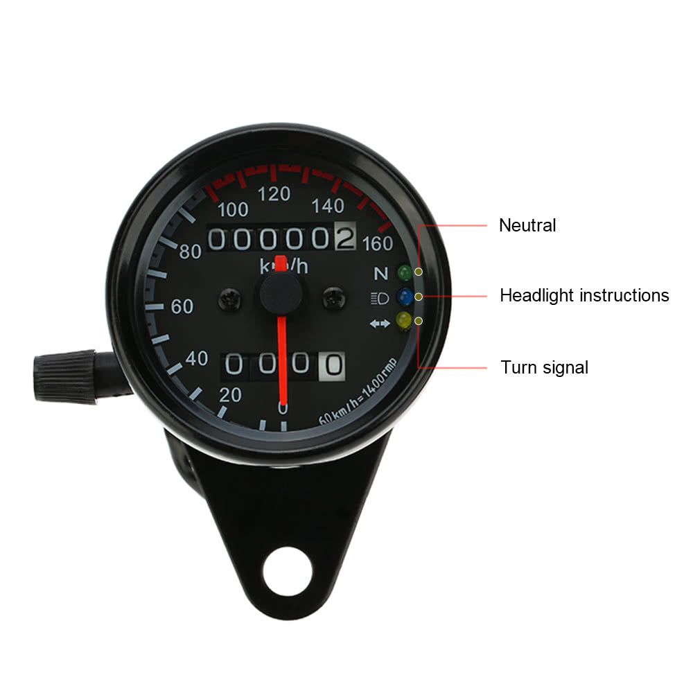 Go2Funlive 12V Motorcycle 13000 Rpm Tachometer Km/H Speedometer Dual Odometer Gauge With Led Backlight Signal Lights