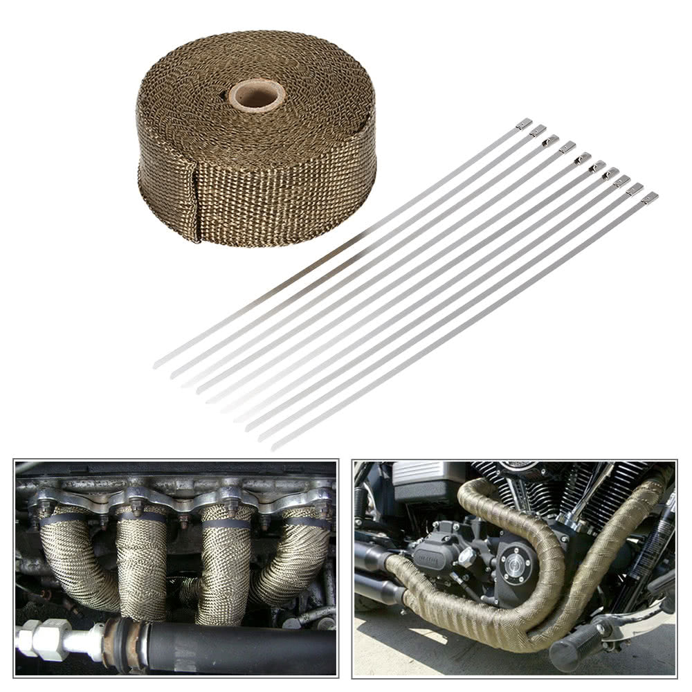 Go2Funlive 15M Heat Wrap Exhaust Manifold Downpipe 10 30Cm Cable Ties For Car Motorcycle