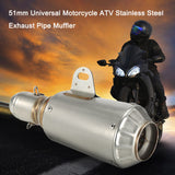 51mm Universal Motorcycle ATV Frosting Stainless Steel Exhaust Pipe Muffler