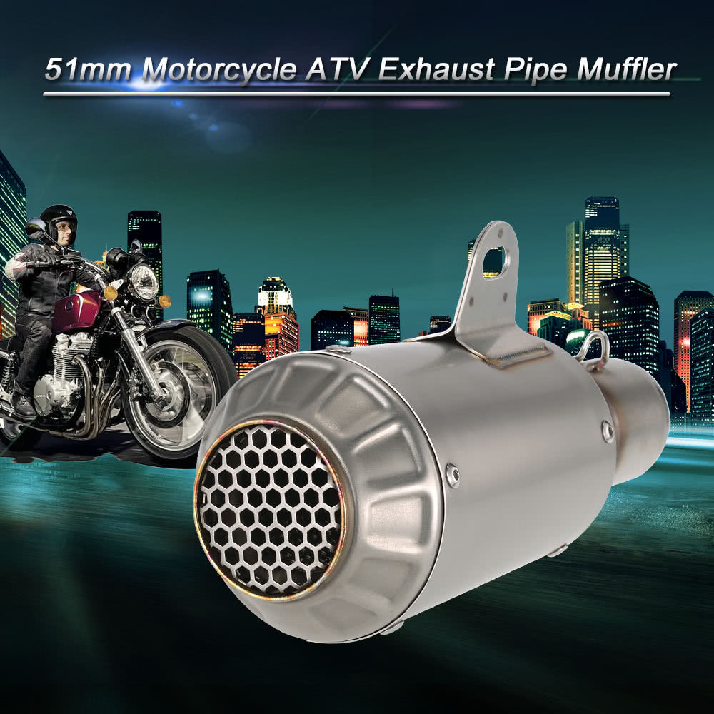 Go2Funlive 51Mm Refit Muffler Pipe Blueing Stainless Steel Extended Exhaust Muffler Tail Pipe Universal For Motorcycle Atv