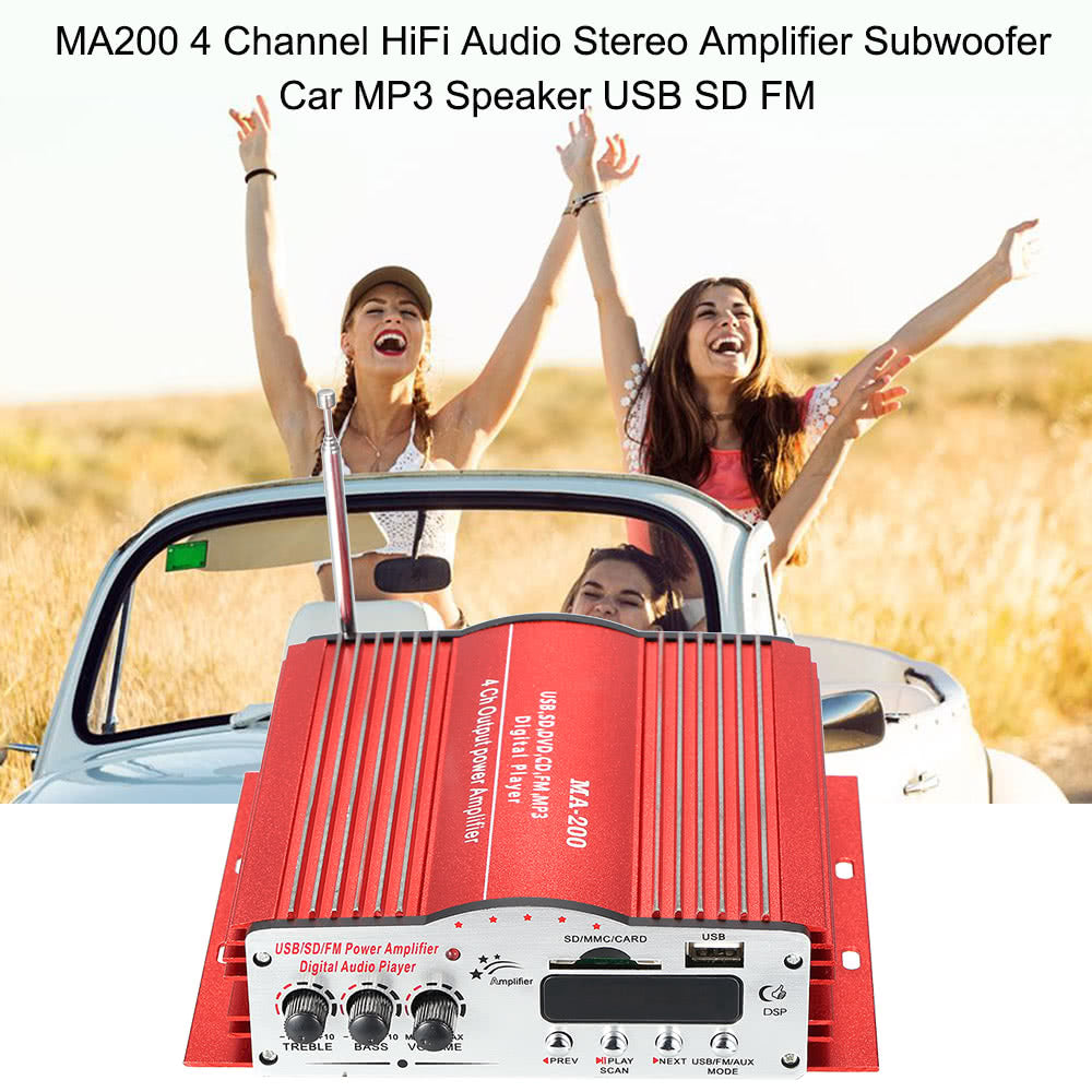 Go2Funlive Ma200 4 Channel Hifi Audio Stereo Amplifier Subwoofer Car Mp3 Speaker Usb Sd Fm