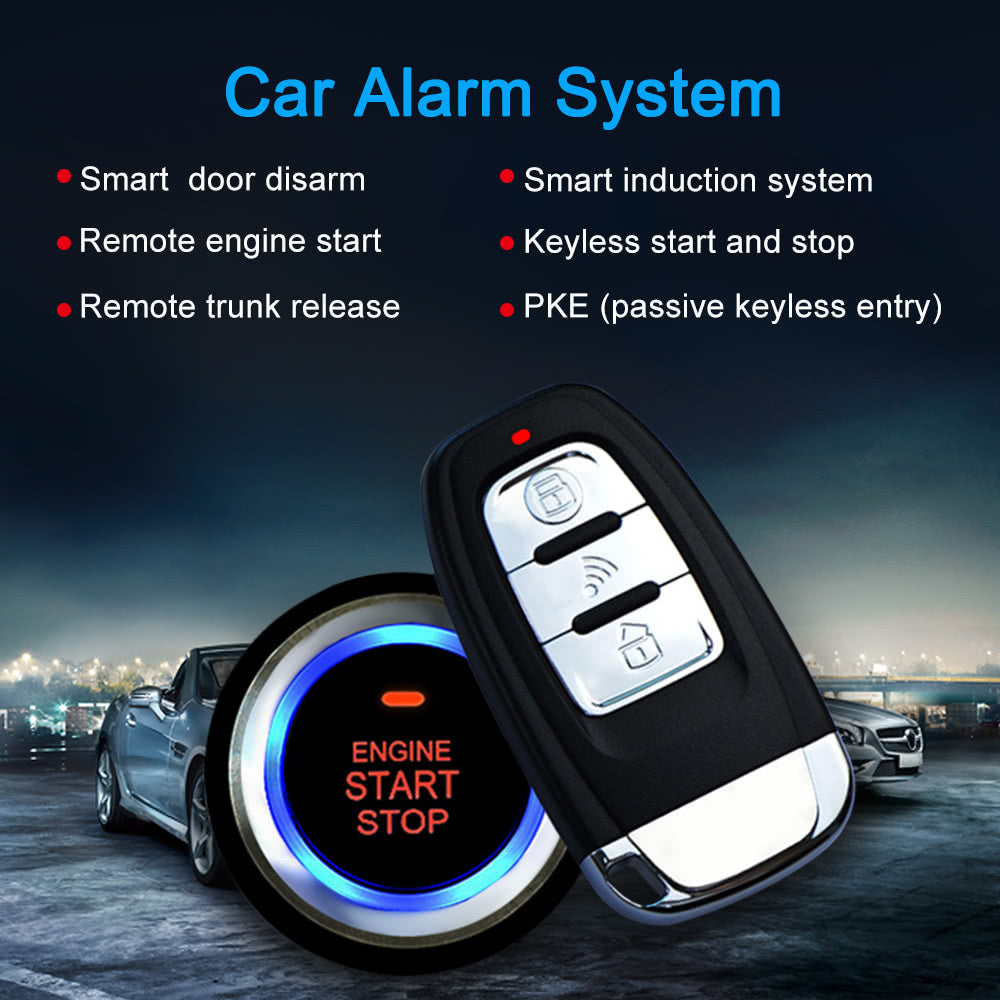 Go2Funlive Universal Version Smart Key Pke Passive Keyless Entry Car Alarm System Engine Start Button Remote Engine Start Remote Open And Close Car Windows