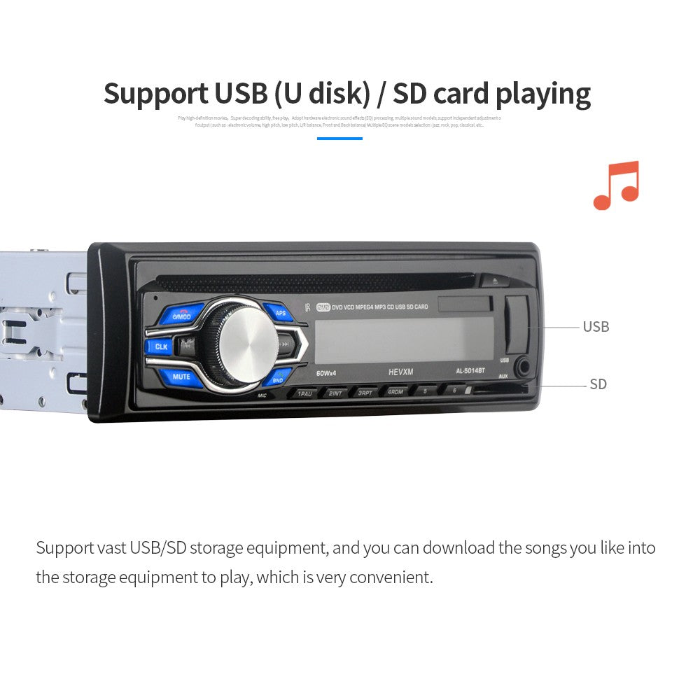 Go2Funlive Single Din 12V Car Dvd Cd Player Vehicle Mp3 Stereo Car Handfree Autoradio Bt Audio Radio 5014 Car-Styling Wireless Remote Control