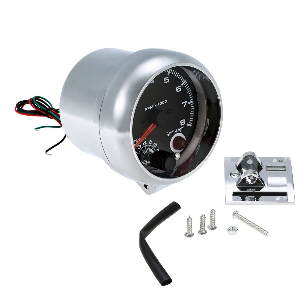 Go2Funlive 12V Car 3.75 Inch Tachometer Tacho Gauge With 7 Led Colors Shift Light 0-8000 Rpm
