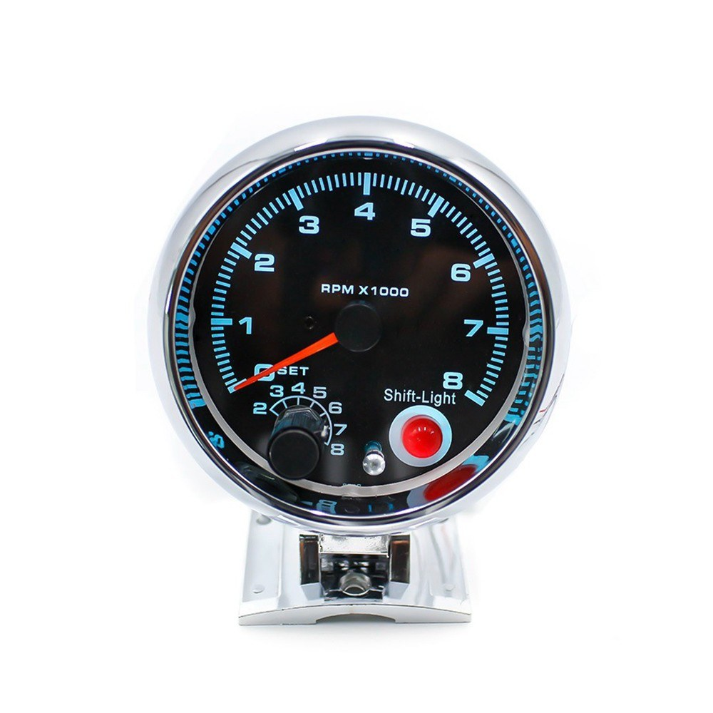 12V Car 3.75 inch Tachometer Tacho Gauge with 7 LED Colors Shift Light 0-8000 RPM