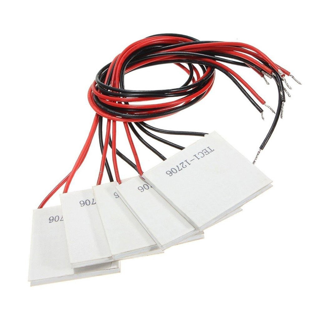 Go2Funlive 5Pcs Tec1-12706 40X40Mm 12V 60W Heatsink Thermoelectric Cooler Semiconductor Refrigeration Cooling Peltier Plate Module