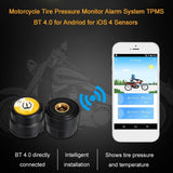 Go2Funlive Motorcycle Tire Pressure Monitor Alarm System Tpms Bt 4.0 For Andriod For Ios 4 Sensors