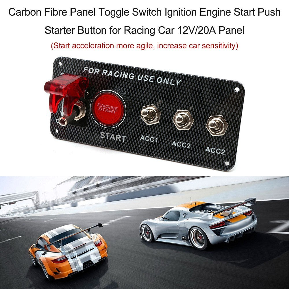 Go2Funlive Carbon Fibre Panel Toggle Switch Ignition Engine Start Push Starter Button For Racing Car 12V/20A Panel