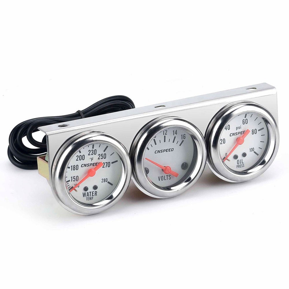 Go2Funlive Universal Car 2'' 52Mm Chrome Volt Water Temp Gauge Oil Pressure Gauge Triple 3 Gauge Set Gauges Kit