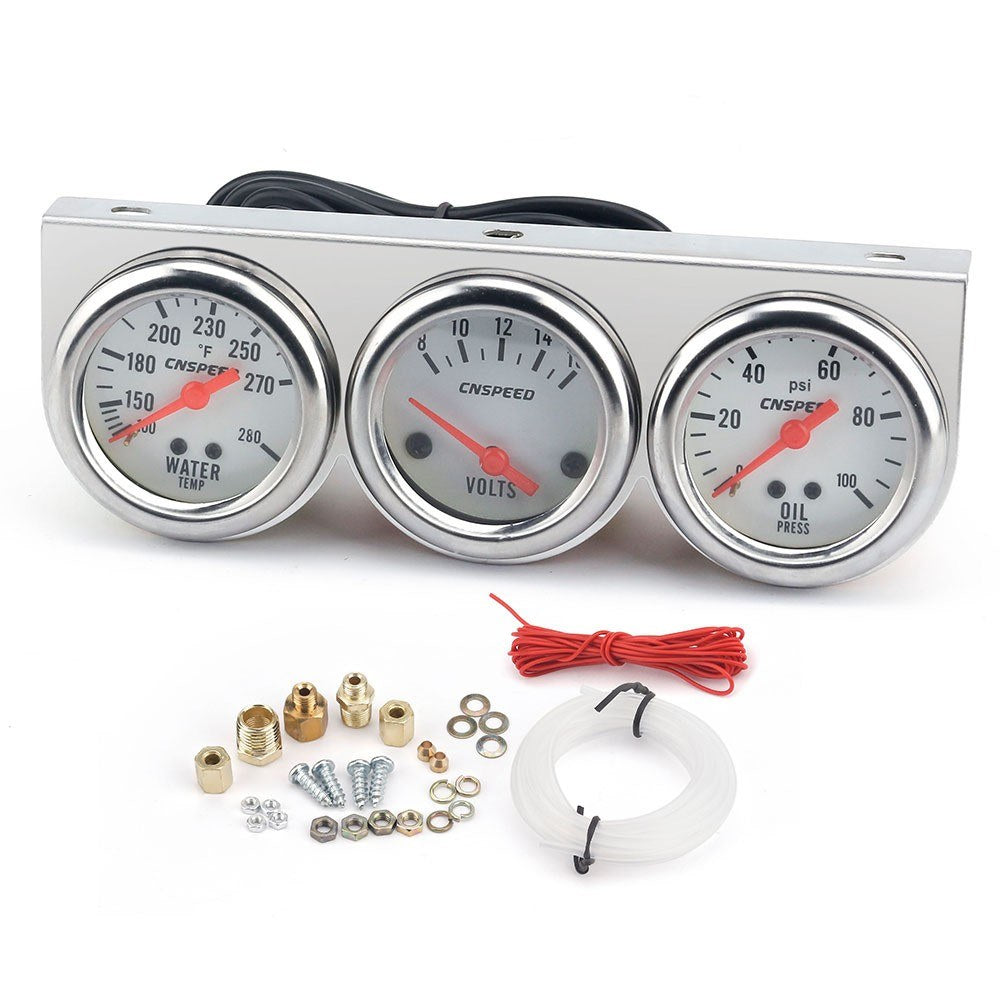 Universal Car 2'' 52mm Chrome Volt Water Temp Gauge Oil Pressure Gauge Triple 3 Gauge Set Gauges Kit