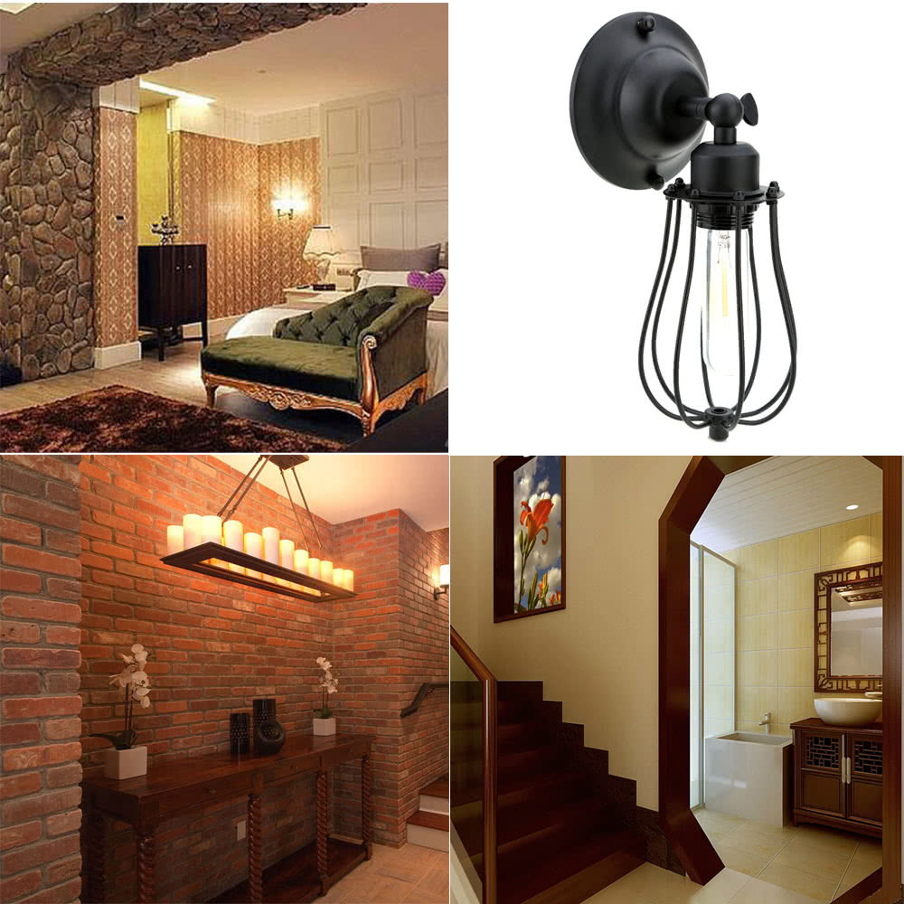 Go2Funlive Lixada Vintage Retro Cases Lamp Light E27 Country Wall Sconce Mounted Bedroom Loft Living Room Hotel Hall