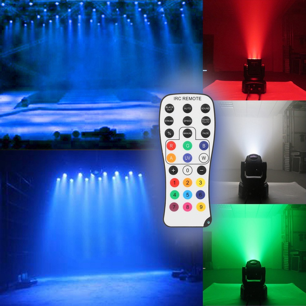 Go2Funlive Mini 12 Leds 40W Rgbw Wash Rotating Moving Head Stage Effect Light 7/13 Channel Dmx512 Sound-Activeated With Reomote Control For Indoor Disco Ktv Club Party