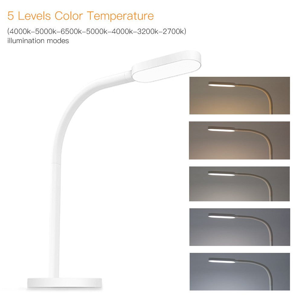 Go2Funlive Yeelight Dc5V 5W 60 Led Desk Lamp Light Seneitive Touch Control 5 Levels Brightness Adjustable Dimmable 5 Levelscolor Temperature Changing Usb Powered Operated Bendable Flexible Tube Lighting Angle With Built-In 2000Mah High Capacity Rechargeab