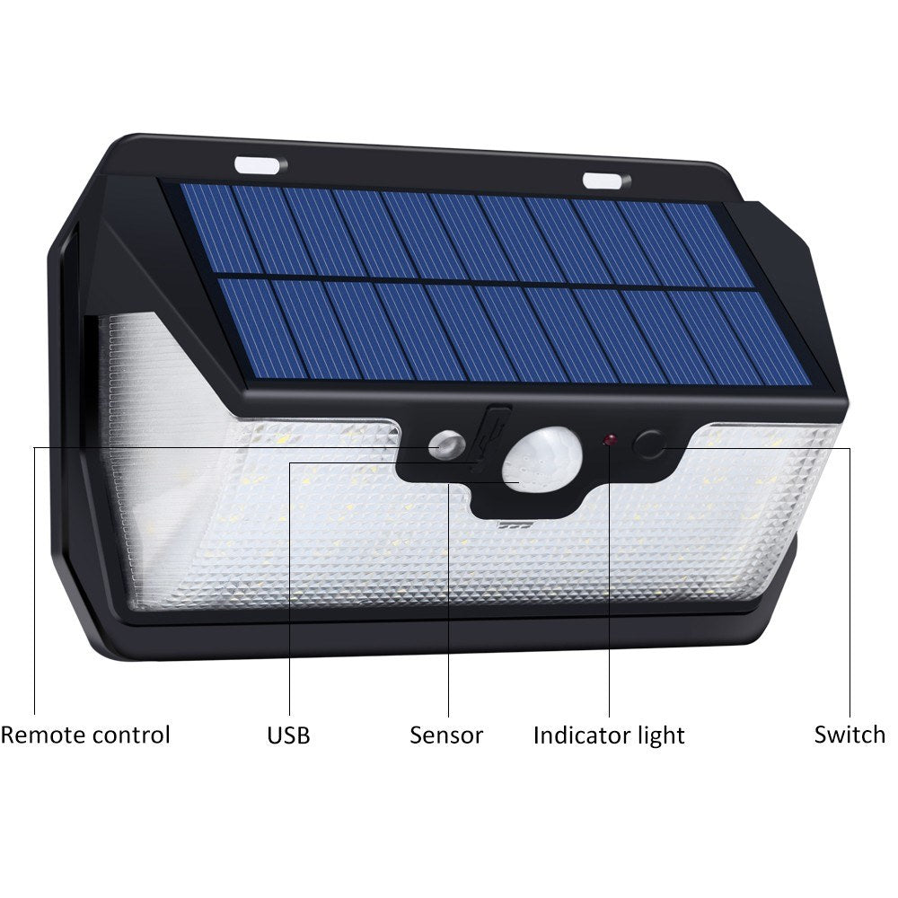 USB Rechargeable 53 LED Solar Power Remote Sensing Wall Lights Energy Saving Street Courtyard Corridor Home Garden Security Lamp with Remote Control
