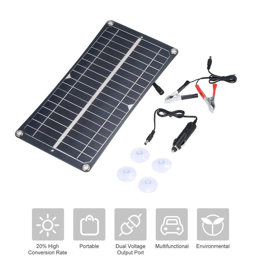 DC5V/DC18V 10W Dual Output Solar Power Energy Charging Panel with USB Interface Car Charger IP65 Water Resistance Portable Completed Accessories for Outdoor Camping Hiking Fishing Climbing
