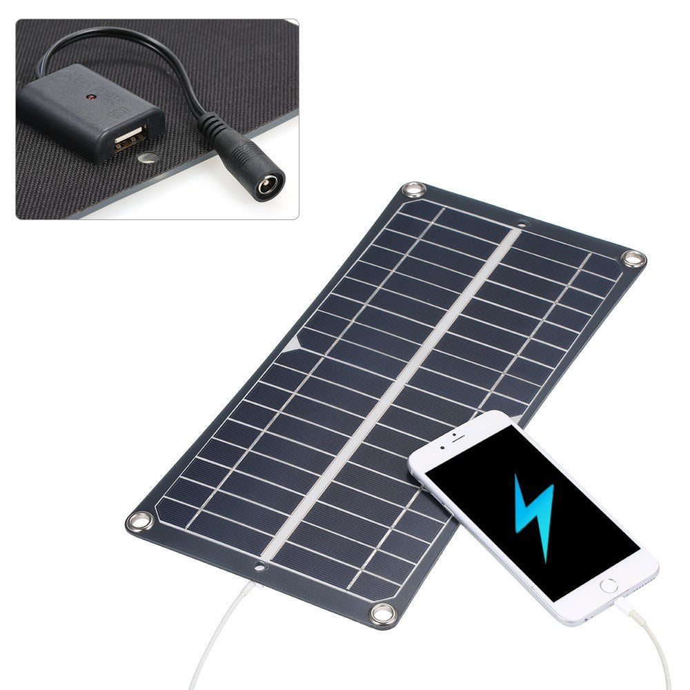 Go2Funlive Dc5V/Dc18V 10W Dual Output Solar Power Energy Charging Panel With Usb Interface Car Charger Ip65 Water Resistance Portable Completed Accessories For Outdoor Camping Hiking Fishing Climbing
