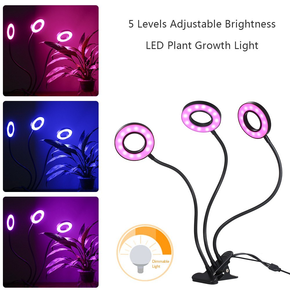Go2Funlive Dc 5V 27W 54Leds Triple-End Leds Plant Growth Light Growing Lamp Usb Powered 3 Illumination Modes 3 Timer Timing Time-Setting Time Function/ 5 Levels Adjustable Brightness Dimmable/ Memory Function Flexible Goose Neck Clamp Clip Design For Balc