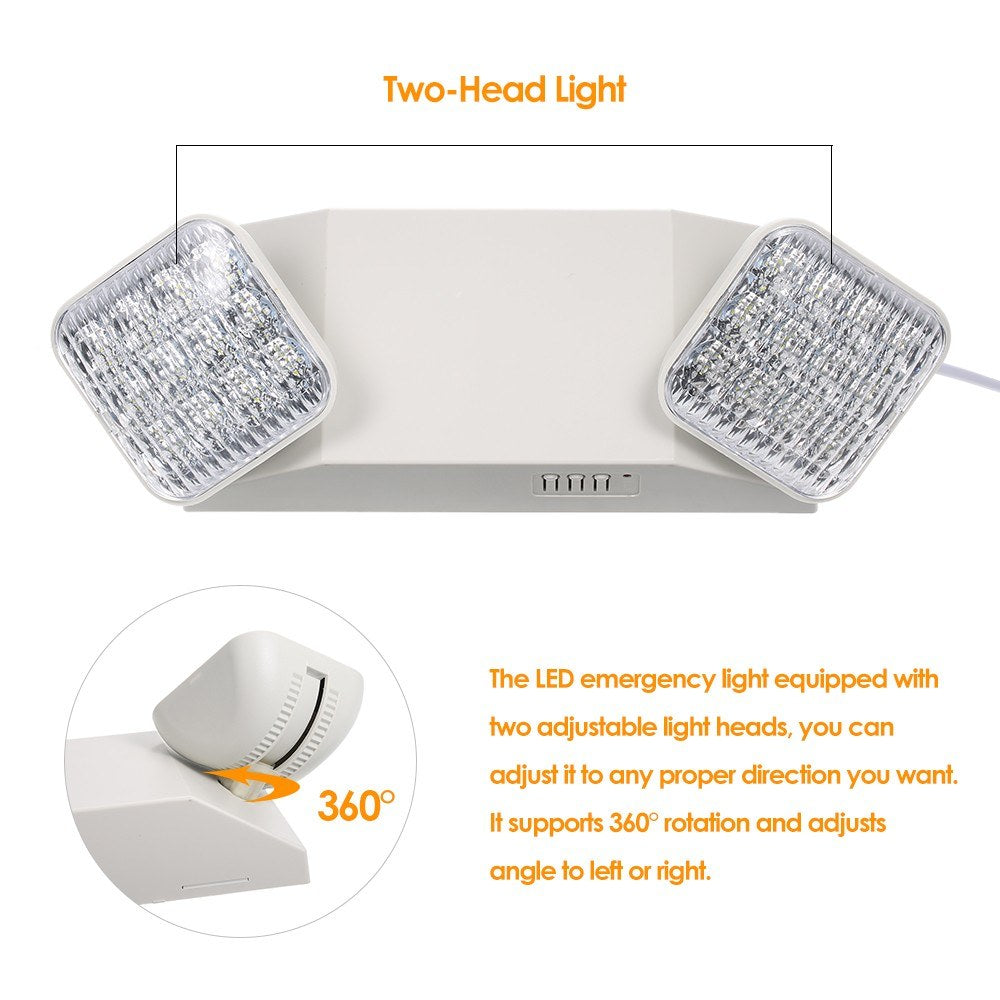 Go2Funlive Ac85-265V Leds Emergency Light Two-Head Adjustable 1800Mah Batterys Wall-Mounted Lamp For Residential Commercial Garage And Basement Use