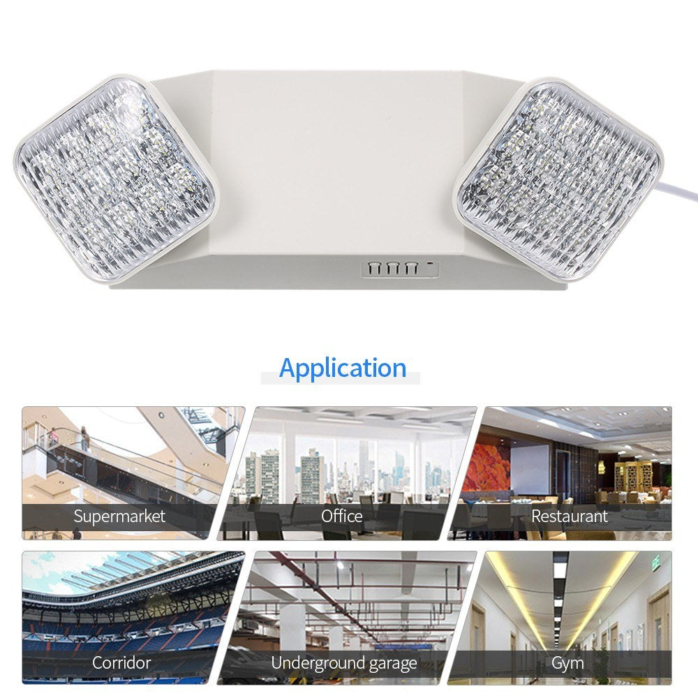 AC85-265V LEDs Emergency Light Two-Head Adjustable 1800mAh Batterys Wall-Mounted Lamp for Residential Commercial Garage And Basement Use