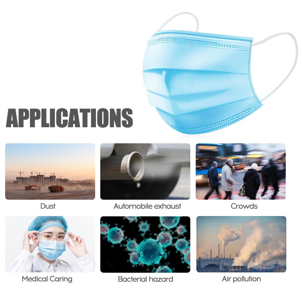 Go2Funlive 50Pcs 3 Layers Disposable Mouth-Muffle Mask Face Mask Men Women Anti-Fog Anti-Virus Breathable Mask