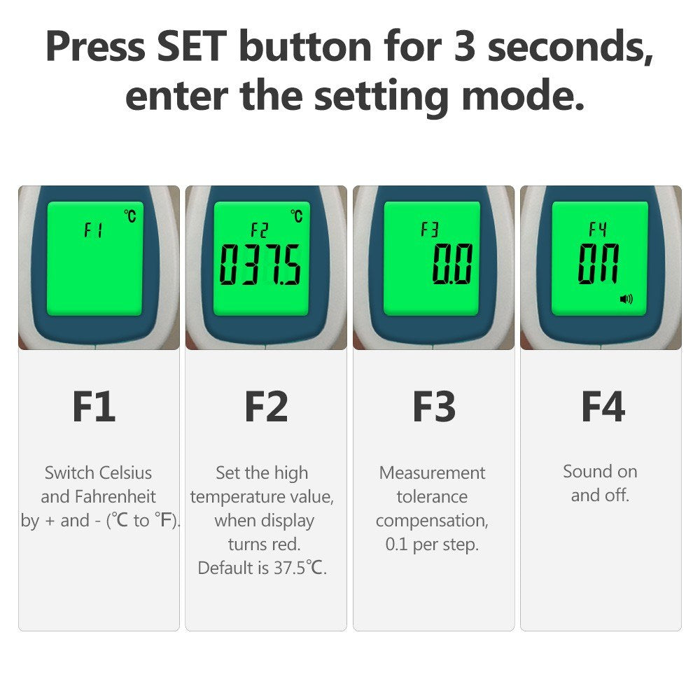 Go2Funlive Digital Infrared Thermometer Temperature Gauge Object Non Contact Temperature Measurement Device 4 Setting Modes 99 Memories ¡æ And ¨H Switchable