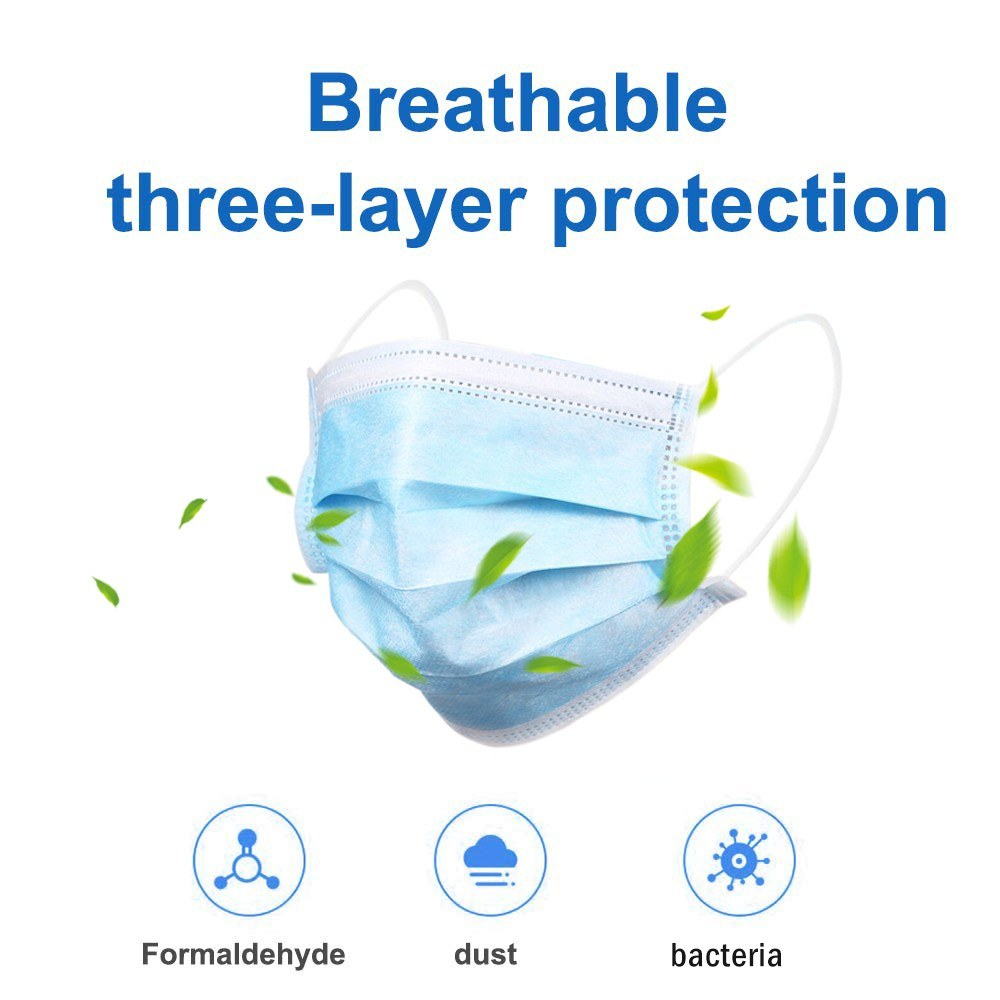 Go2Funlive 50Pcs Face-Mask Disposable Anti Pm2.5 Anti Particle Face Cover Breathable Dustproof Mouth-Mask