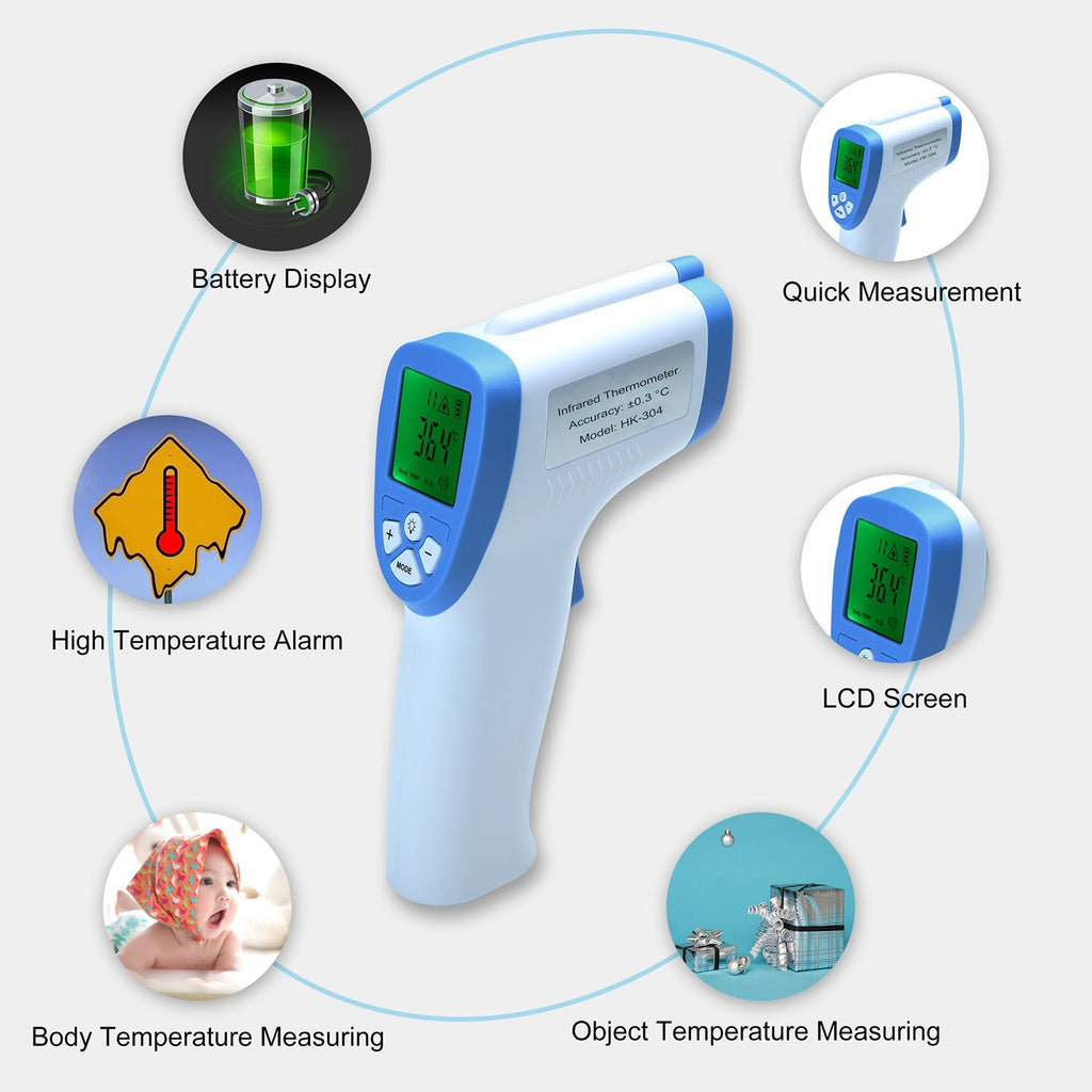 Non-Contact Infrared Forehead Thermometer for Baby Adult Child Surface of Objects with Memory Function Color Alarm Sound Setting Accurate +/-0.2¡æ/0.4¨H