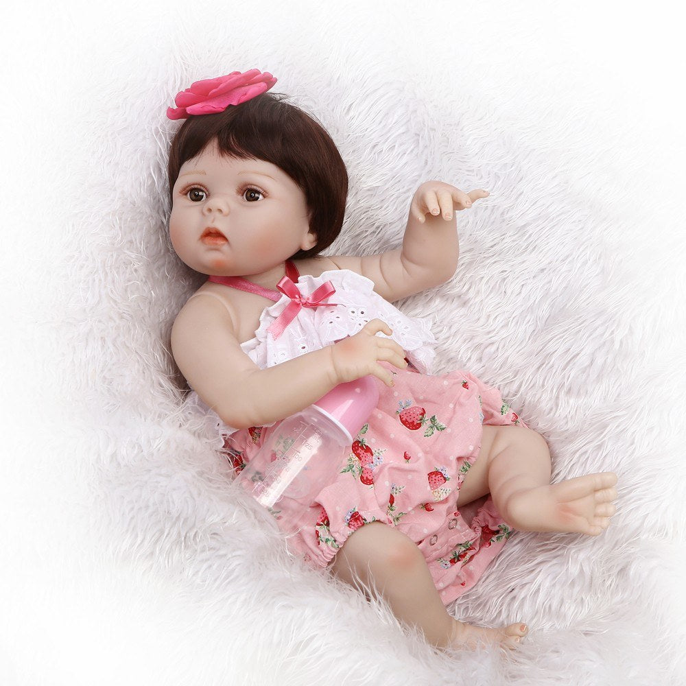 Go2Funlive Reborn Baby Girl Doll 22 Inch Soft Full Silicone Vinyl Body Lifelike Toddler Doll