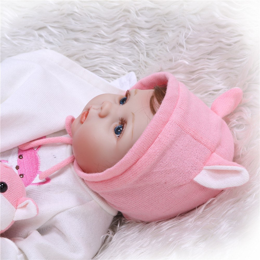 Go2Funlive 22Inch 55Cm Reborn Baby Doll Girl Full Silicone Doll Baby Bath Toy With Clothes Lifelike Cute Gifts Toy Pink