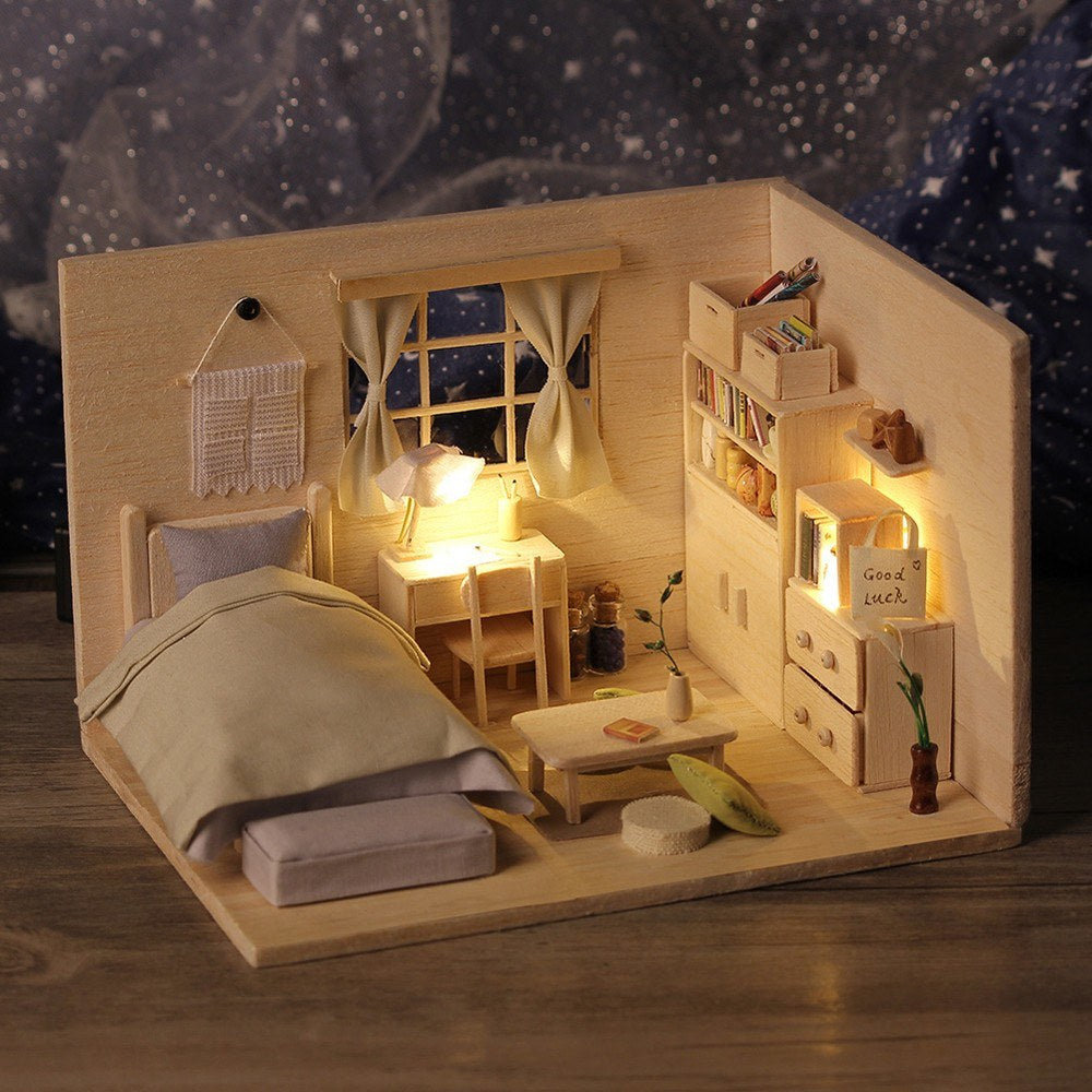 3D Japanese Style Plain Room Assemble Dollroom Furniture Miniature Dollhouse DIY House Room Miniatures Toys for Children Creative Gift with Music Named City of Sky