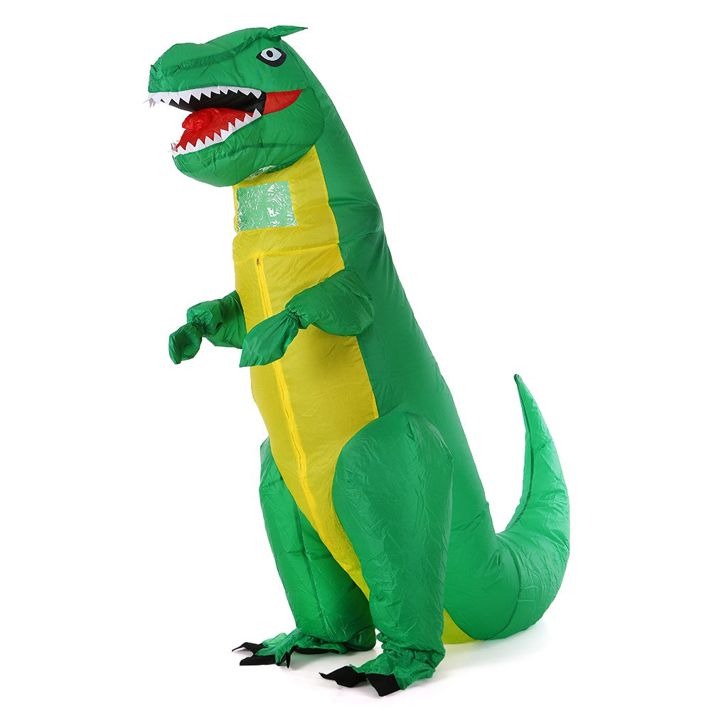 Go2Funlive Adults Green Dinosaur Inflatable Costume Props Blow Up Inflatable Fancy Dress For Halloween Cosplay Party Stage Performance