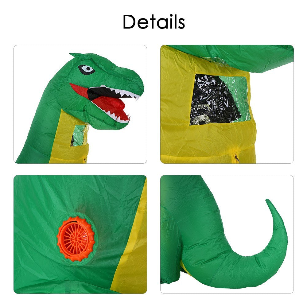 Adults Green Dinosaur Inflatable Costume Props Blow Up Inflatable Fancy Dress for Halloween Cosplay Party Stage Performance