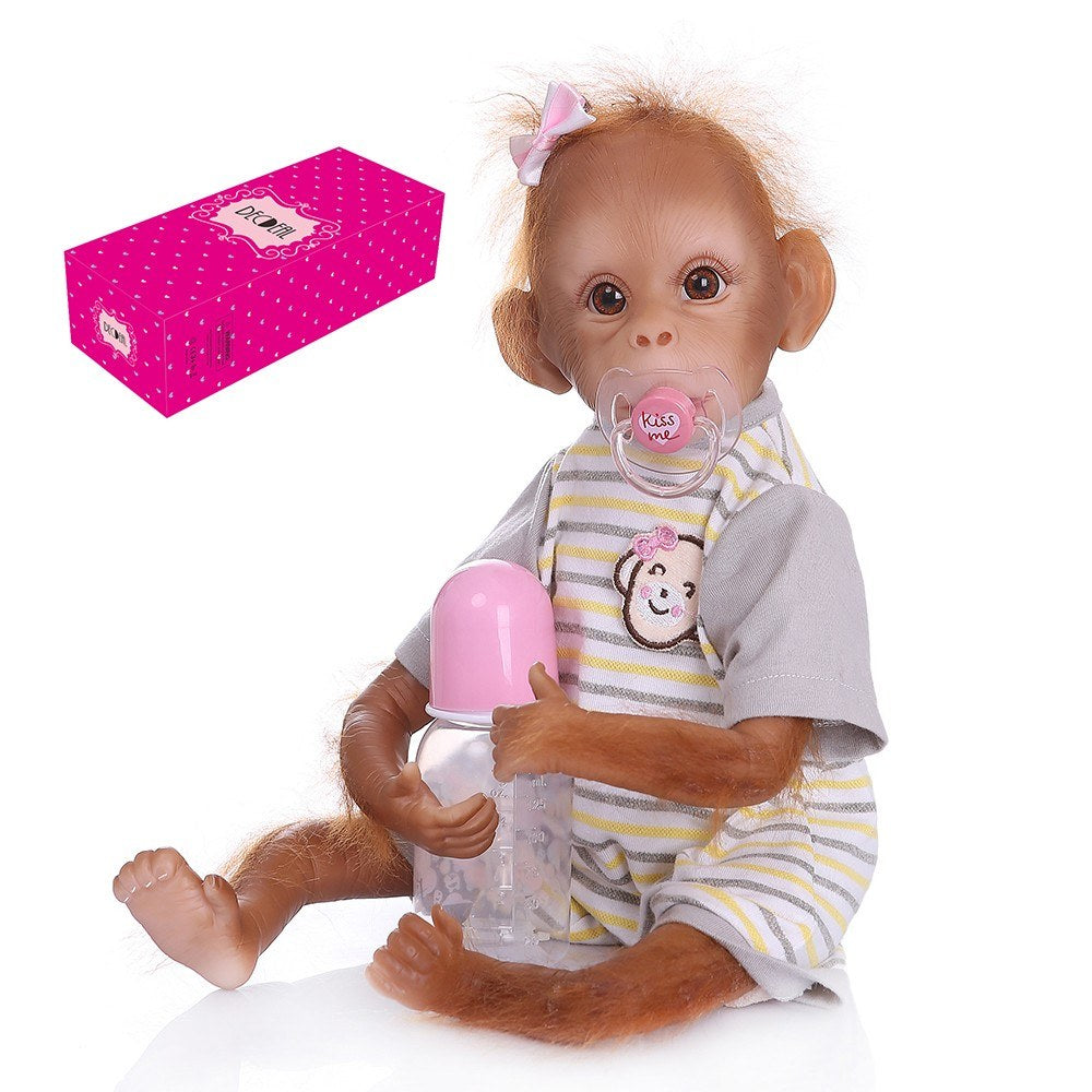 Go2Funlive Decdeal Realistic Baby Monkey Doll 16 Inch 40 Cm Lifelike Reborn Baby Monkey Handmade Detailed Painting Art Dolls With Yellow Stripe T-Shirt