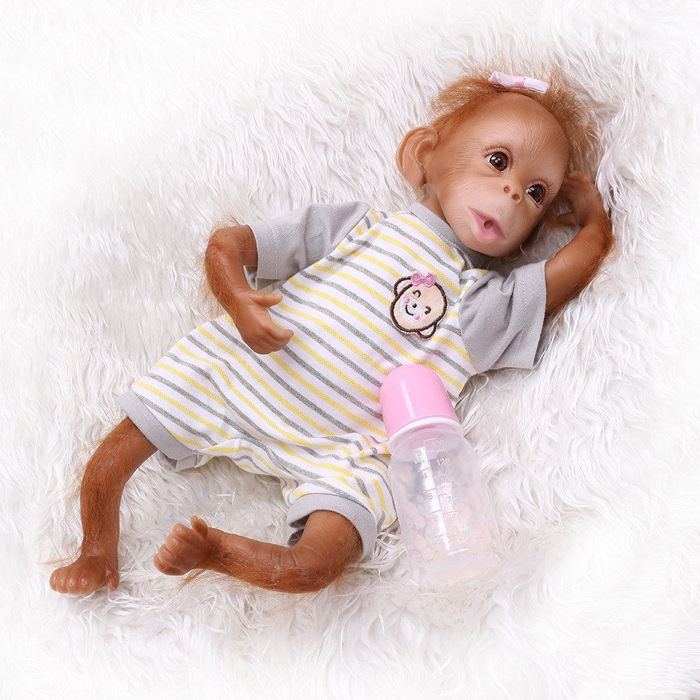 Decdeal Realistic Baby Monkey Doll 16 inch 40 cm Lifelike Reborn Baby Monkey Handmade Detailed Painting Art Dolls with Yellow Stripe T-shirt
