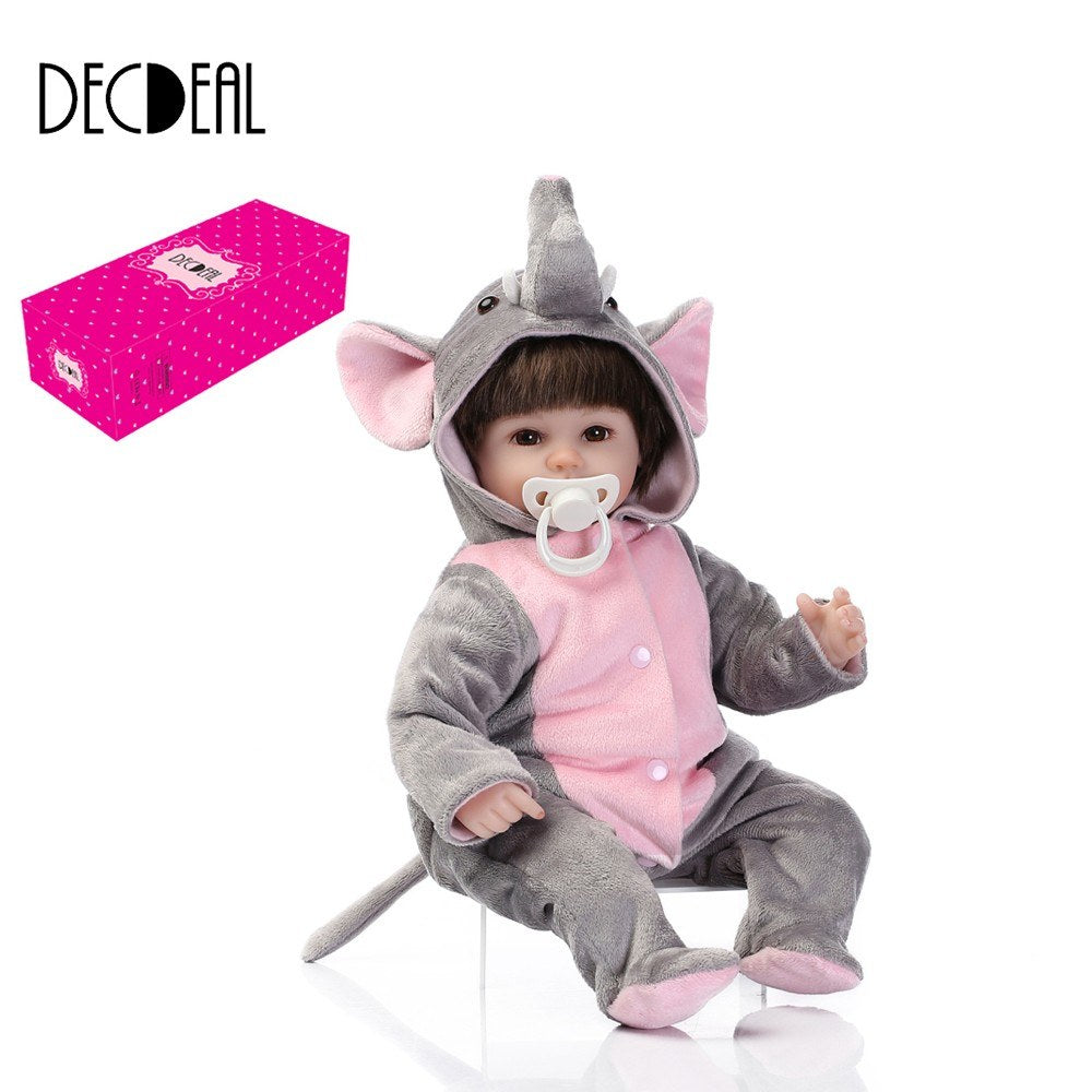 Go2Funlive 16Inch 41Cm Silicone Reborn Toddler Baby Doll Girl Body Boneca With Clothes Brown Eyes Lifelike Cute Gifts Toy Plush Elephant
