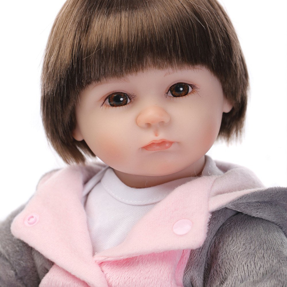 16inch 41cm Silicone Reborn Toddler Baby Doll Girl Body Boneca With Clothes Brown Eyes Lifelike Cute Gifts Toy Plush Elephant