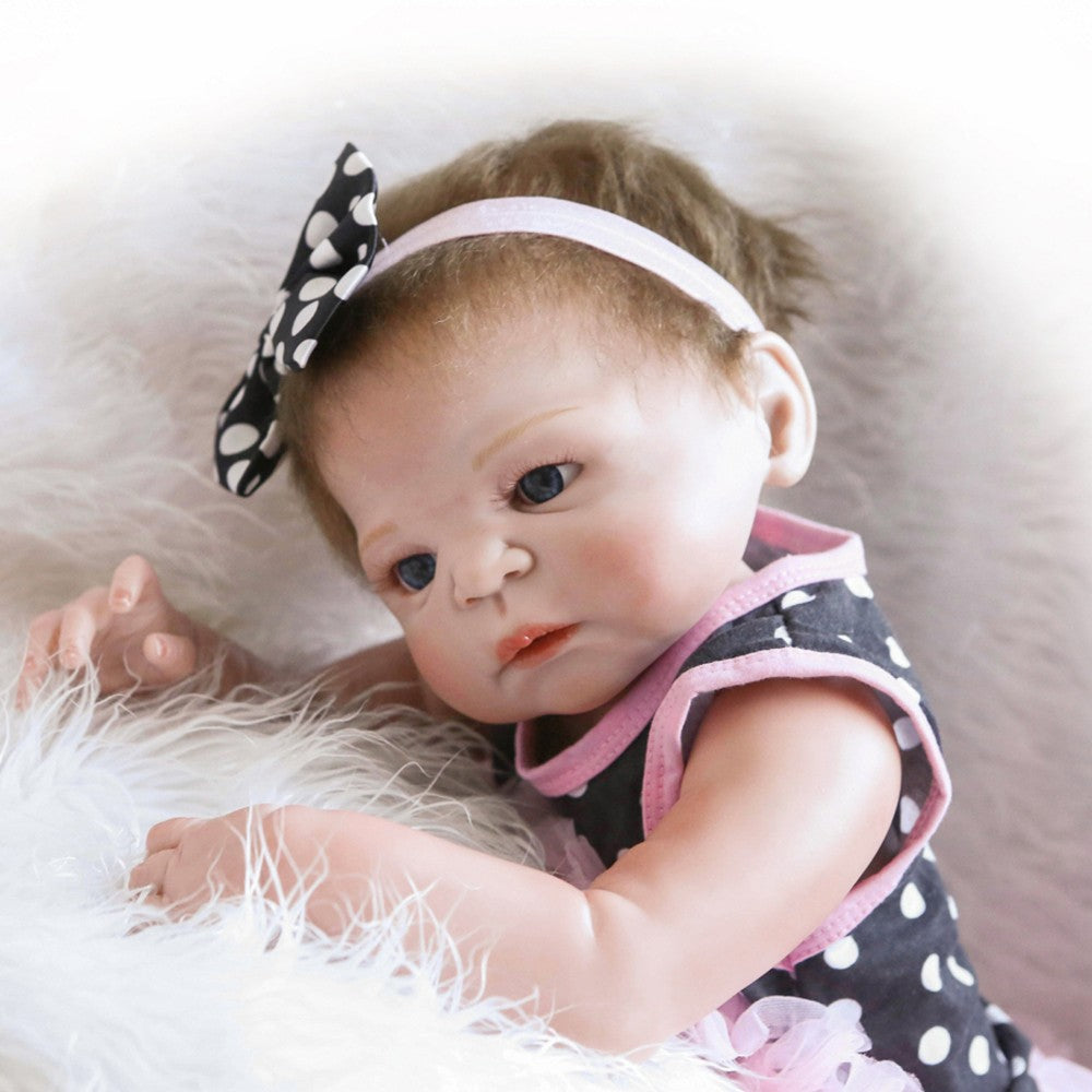 22inch 55cm Reborn Baby Doll Girl Full Silicone Princess Doll Baby Bath Toy With Clothes Lifelike Cute Gifts Toy
