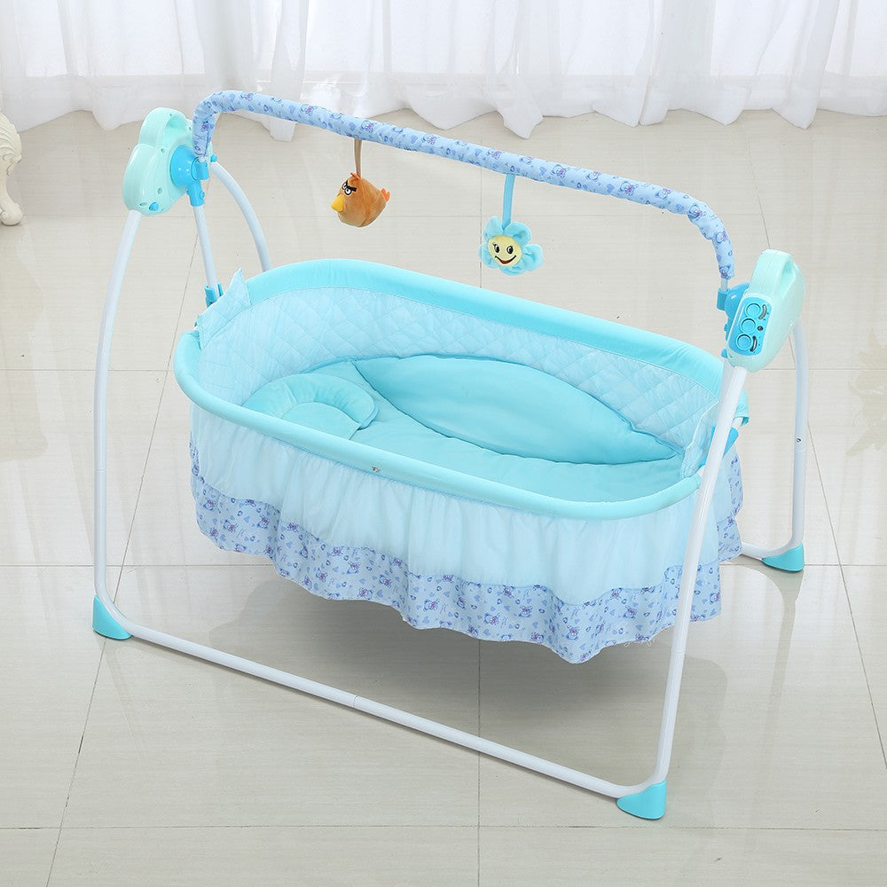 Go2Funlive Electric Baby Bassinet Cradle Swing Rocking Connect Mobile Play Music Sleeping Basket Bed Crib For Newborn Infant