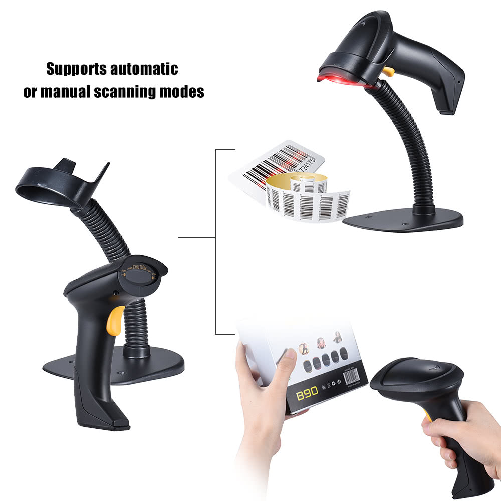Go2Funlive Automatic/ Manual 2.4G Wireless Handheld 1D Barcode Scanner Reader Supports Reverse Type Bar Code Scanning With Usb Receiver Adjustable Stand For Supermarket Library Logistics Express Retail Store Warehouse