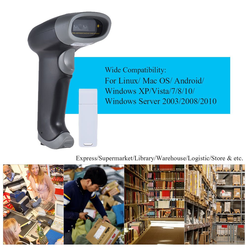 Go2Funlive 2.4Ghz Wireless Usb Wired 1D Barcode Scanner Auto/Manual Scanning Ccd Red Light Screen Pc Computer Bar Code Reader 2000Dpi 260T/S Intermal Memory Up To 2500