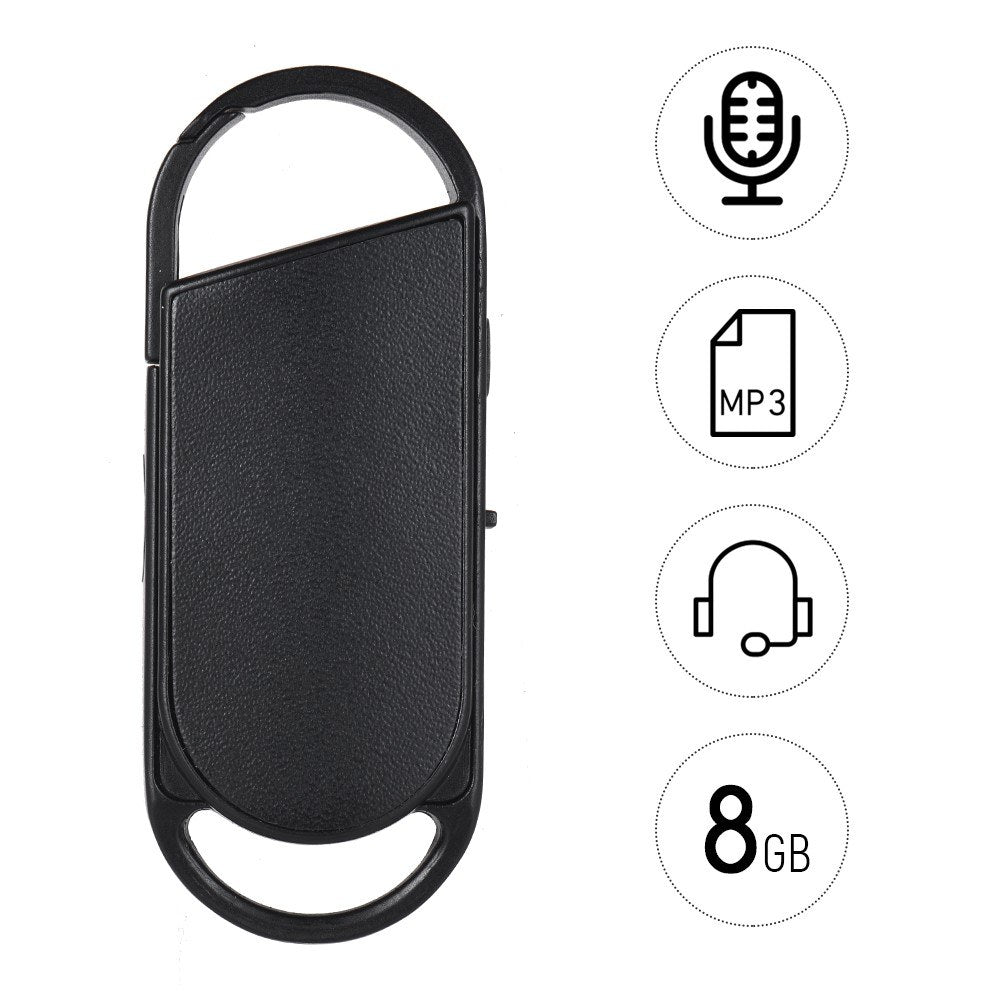 Go2Funlive 8Gb Portable Voice Recorder Usb Disk Key Ring Style Audio Dictaphone Mp3 Player Rechargeable