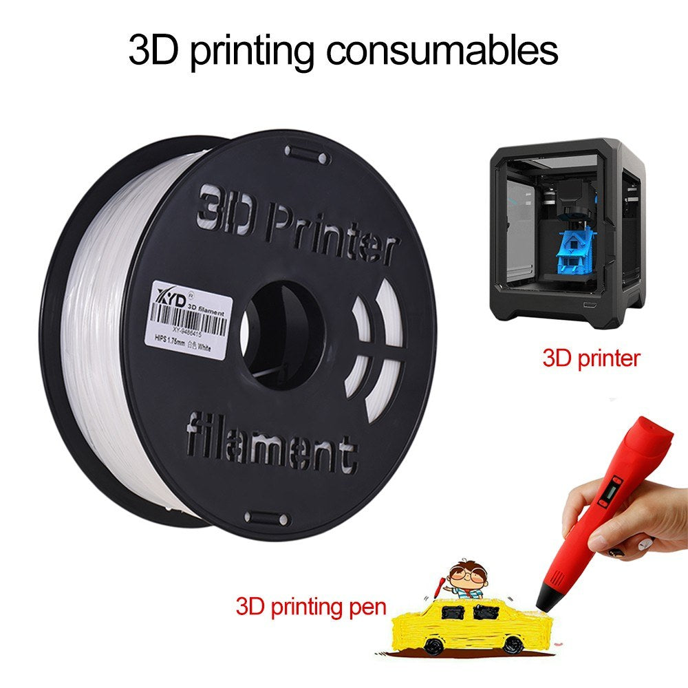 1KG/Spool 3D Printer HIPS Filament 1.75mm White HIPS Printing Material Supplies for 3D Printers