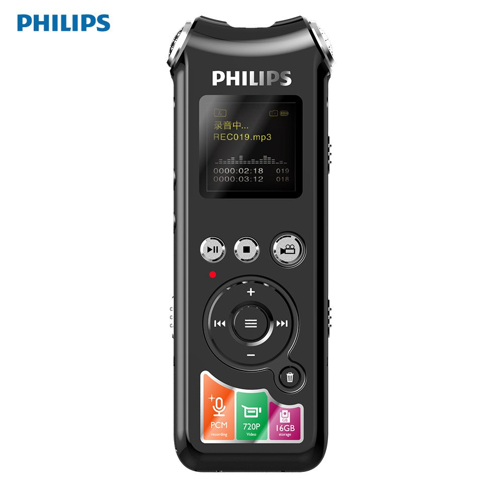 Go2Funlive Philips Vtr8010 720P Camera Digital Voice Recorder 16Gb Usb Pcm Audio Sound Recorder Dictaphone Mp3 Player Voice-Activated/Fm Ratio For Lecture Meeting Interview