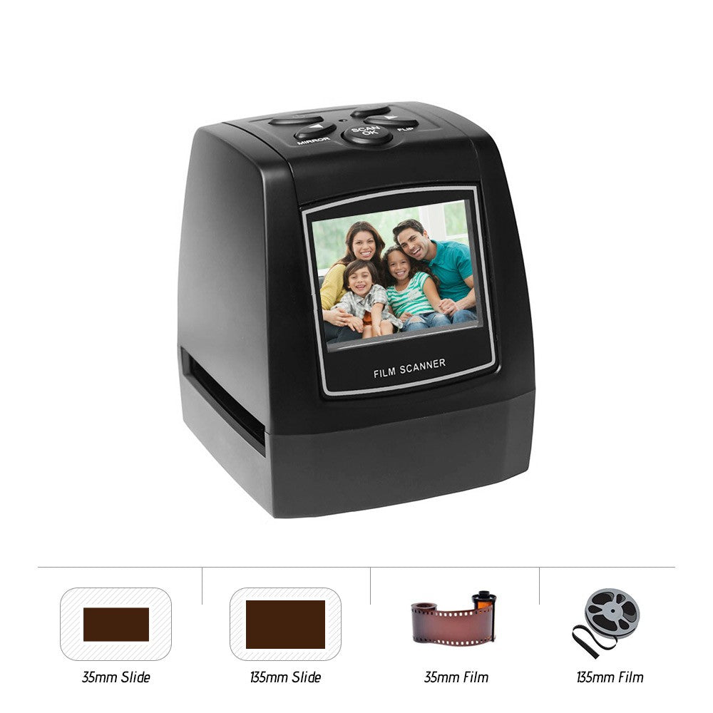 Go2Funlive Protable Negative Film Scanner 35Mm 135Mm Slide Film Converter Photo Digital Image Viewer With 2.4 Inch Lcd Build-In Editing Software