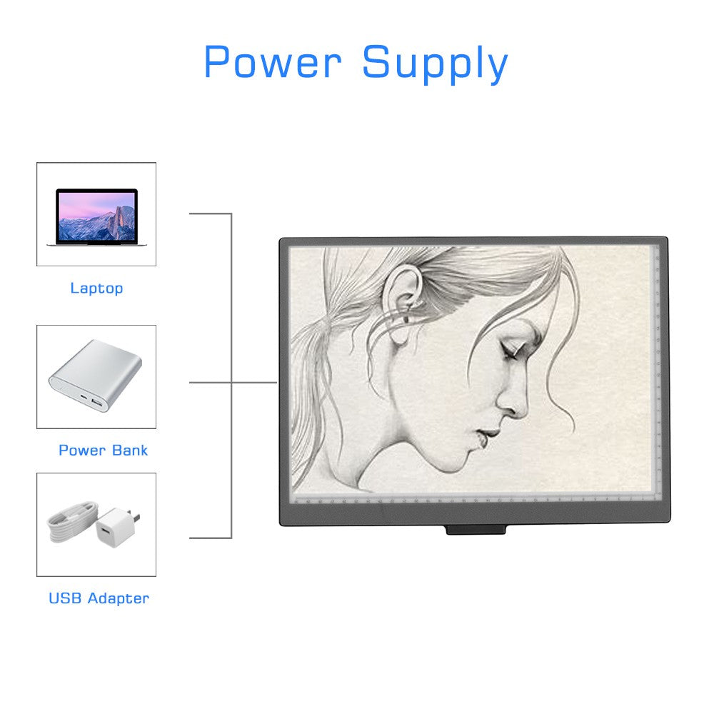 A4 Light Box LED Artcraft Tracing Light Copyboard 10 Level Adjustable Brightness Stepless Dimming Eye-protecting Pad USB Powered for Tatoo Diamond Painting Drawing Sketching Animation