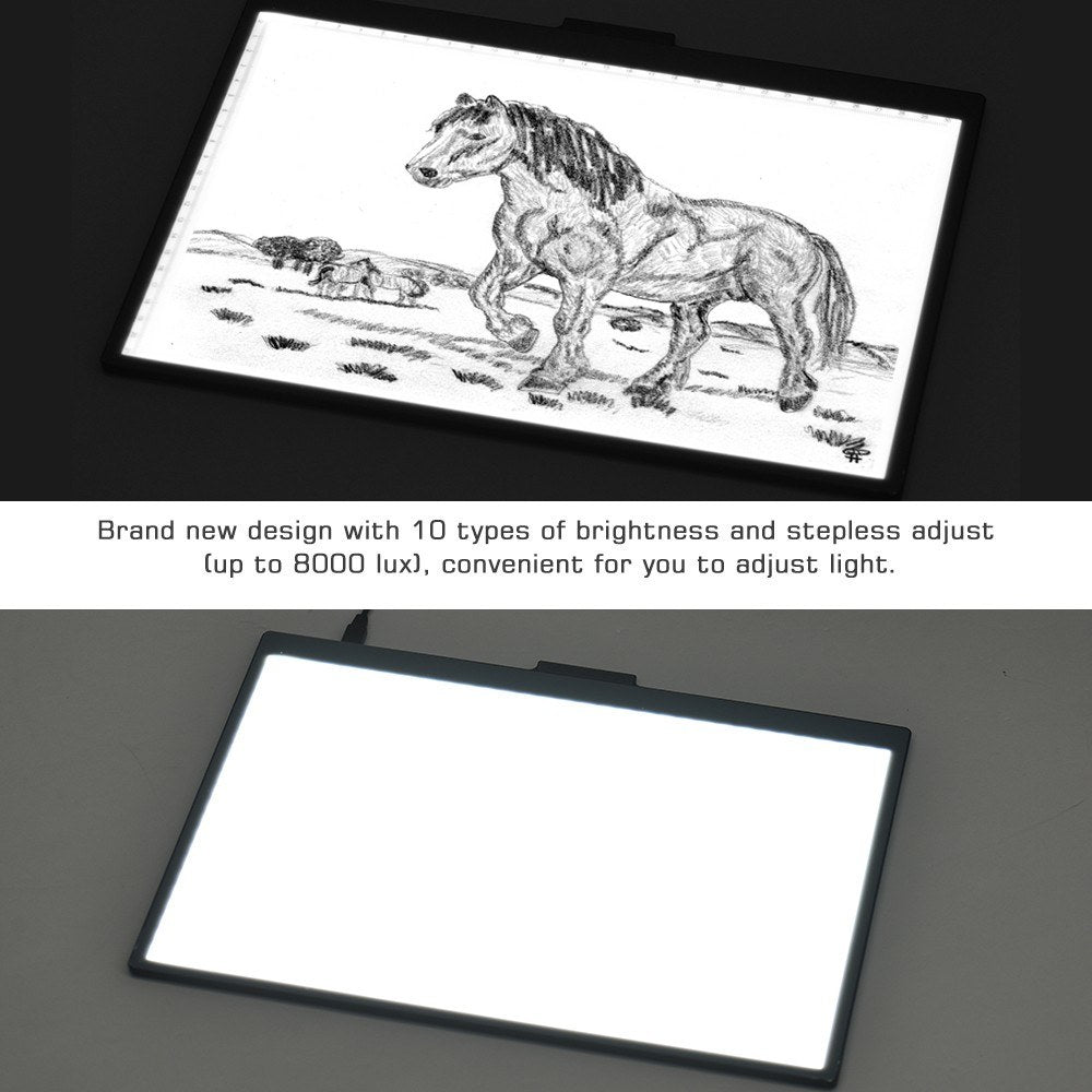 Go2Funlive A4 Light Box Led Artcraft Tracing Light Copyboard 10 Level Adjustable Brightness Stepless Dimming Eye-Protecting Pad Usb Powered For Tatoo Diamond Painting Drawing Sketching Animation